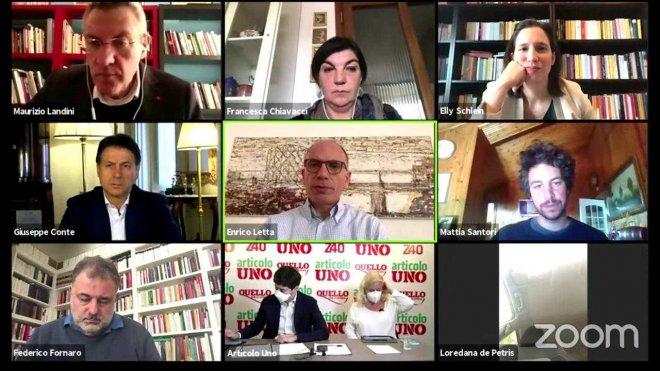 Enrico Letta in videoconferenza con altri esponenti politici discute delle prossime Amministrative