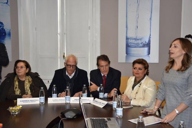 Presentazione del progetto Gesesa H2school, (da sinistra) Carmen Maffeo, Luigi Abbate, Piero Ferrari e Melania Russo