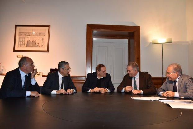 Firma Protocollo per lo studio di fattibilita' dello Scalo merci a Ponte Valentino. Filippo Liverini, Clemente Mastella e Filippo De Rossi