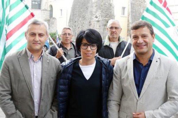 Mario Melchionna (Cisl), Rosita Galdiero (Cgil) e Fioravante Bosco (Uil)