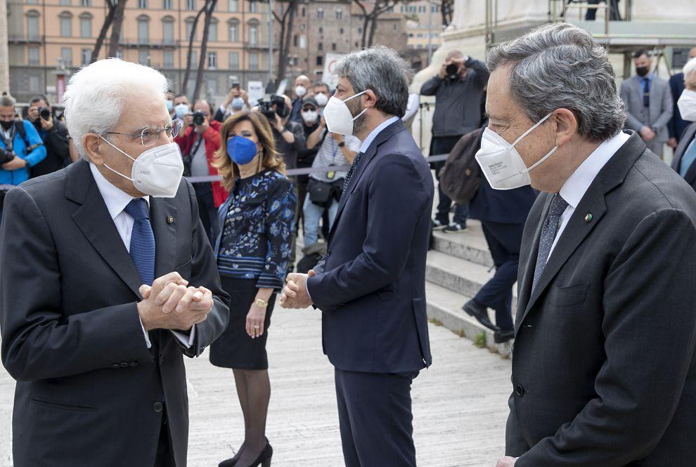 Il Presidente della Repubblica Sergio Mattarella con il Presidente del Consiglio Mario Draghi