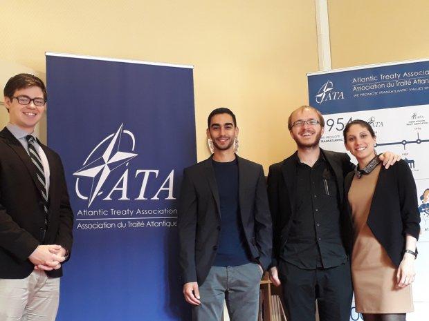 Da sinistra Austin L. Muraille (Summer program ATA - American University Washington, DC), Alfredo Franco laureato Unisannio  (stage ATA), Simon Herteleer (program advisor) e Letizia Torretta (program director ATA)