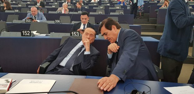 Europarlamento di Strasburgo. Aldo Patriciello con Silvio Berlusconi