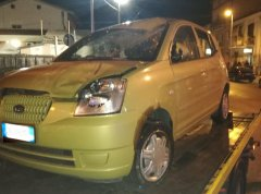 La Kia coinvolta nell'incidente