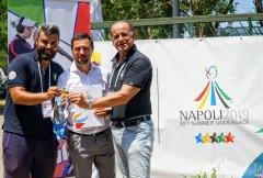 Universiade. Il campione Giancarlo Tazza (dx) e Giancarlo Rossi (sx) alle gare di Tiro a volo a Durazzano