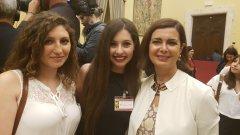 Premio Strega Giovani. Le studentesse del Liceo Giannone, Sabina Carrozzini e Gaia Iannace con la Presidente della Camera Laura Boldrini