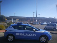 Benevento. Pattuglia della Polizia di Stato presso lo Stadio Ciro Vigorito
