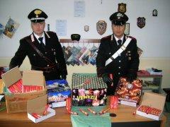 I fuochi pirotecnici illegali sequestrati dai Carabinieri (foto di archivio)