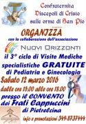 Salute. Sabato 12, a Pietrelcina, visite specialistiche gratuite di ginecologia e pediatria