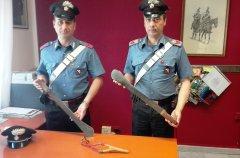 Machete sequestrati dai Carabinieri di San Giorgio del Sannio
